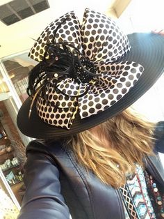 But with stripes to contrast polka-dot dress Kentucky Derby Fashion, Kentucky Derby Outfit, Derby Attire, Derby Outfits, Hats For Women, Ladies Hats, Funky Hats, Derby Day, Church Hats