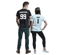 Printed T-Shirts – T-shirt for couple 99 problems ain't 1 – a unique product by MoodyMood on DaWanda