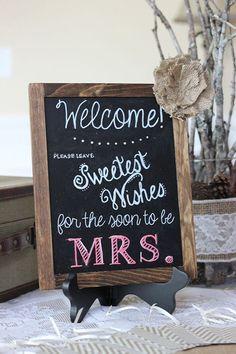 rustic chalkboard bridal shower signs for lace and burlap wedding shower party #BridalShower #ElegantWeddingInvites by letha #BurlapWeddings