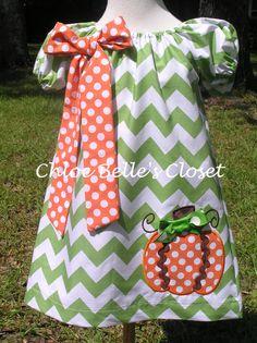 Girls  Chevron with Pumpkin Peasant Dress Sizes 12m by juliesonny, $40.00