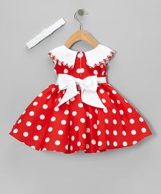 An ever-enchanting duo, this playful polka dotted set will drape darlings in top-to-bottom charm. Graced with a glossy collar, ribbon accent and matching headband, it's the perfect pick for photo-ops and fab family functions.