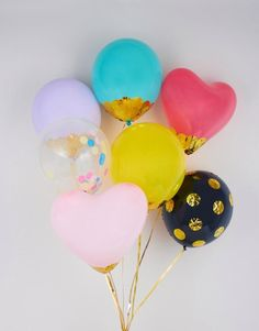 25 Stylish Adult Birthday Party Ideas - Decorate your own balloons with gold foil and confetti!