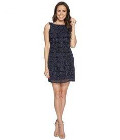 Adrianna Papell Dot Printed Crinkle Chiffon Shift Dress (Navy) Women's Dress