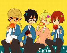 Akira + Tapioca, Natsuki, Haru, & Yuki (Tsuritama) ~ yummy donuts