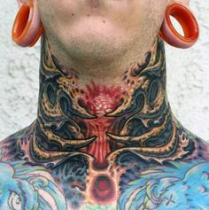 Our neck tattoos for men gallery provides you with countless of options as far as neck tattoo ideas, placement, and neck tattoo designs. Throat Tattoo, Doll Tattoo, Cover Tattoo, Piercing Tattoo, Japanese Forearm Tattoo, Japanese Snake Tattoo, Japanese Flower Tattoo, Badass Tattoos, Tattoos