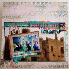 scrapbook LO @ A Page Out of My Book! What a great idea to use an 8 X 10 as the background!