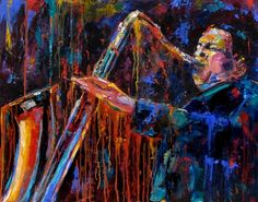 John Coltrane Saxophone Jazz player Music Art Oil Painting by Debra Hurd, painting by artist Debra Hurd