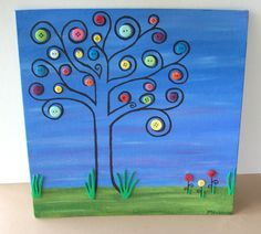 Whimsical Button Tree Painting. $25.00, via Etsy.