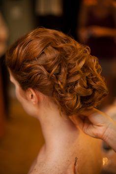 red hair updo #weddinghair by idohairandmake-up.com