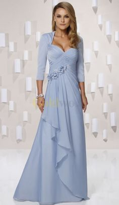 A-line Sweetheart 3/4 Sleeves Chiffon Full Length Mother of the Bride Dress
