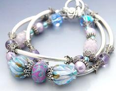 Lavender Blue Bracelet Lampwork Beads 3 by shalayneoriginals, $159.00