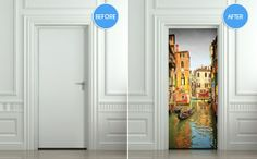 STICKER for Door / Fridge / Wall Venice decole mural skin wrap cover Venice Boat, Peel And Stick Vinyl, Door Stickers, Door Wall, Internal Doors, Interior Walls, Corridor, Paint Designs, Tall Cabinet Storage