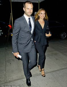 """elizabethswardrobe: """"Benjamin Millepied and Natalie Portman at a gala dinner to celebrate the appointment of Benjamin as Director of the Paris Opera Ballet. Natalie Portman Style, Natalie Portman Husband, Celebrity Gossip, Celebrity Style, Benjamin Millepied, Nathalie Portman, Felicity Jones, Beautiful Men Faces, Hooray For Hollywood"""