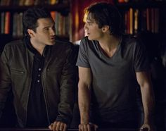 """The Vampire Diaries -- """"I'd Leave My Happy Home for You"""" -- Image Number: VD620a_0047.jpg -- Pictured (L-R): Michael Malarkey a Enzo and Ian Somerhalder as Damon -- Photo: Wilford Harewood/The CW -- © 2015 The CW Network, LLC. All rights reserved.pn"""