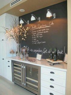 My kinda kitchen. I want this wall in my kitchen. Chalkboard wall Backsplash. Love!