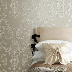 Luxury Beige Damask Embossed Shining Sand PVC Free Wallpaper Sample Available!