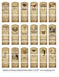 Fantasy Magic Potion Labels digital collage sheet 18 by magicpug, $4.50