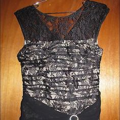 """SALE Signature by Sangria Dress Sz 6 Signature by Sangria nude formal dress with black sheer lace overlay - has rhinestone clip at waist - size 6.  75% rayon, 25% nylon.  Made in Indonesia.  In excellent condition.  Measurements: Chest:  16""""  from armpit to armpit Waist:  13""""  across the front Hips:  16""""  across the front Total Length:  49.5"""" Signature by Sangria Dresses"""