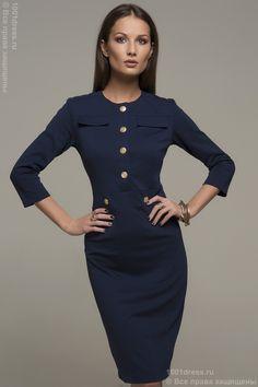 Платье темно-синее с крупными пуговицами в ряд. Синий в интернет магазине Платья для самых красивых 1001dress.Ru