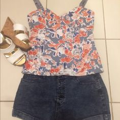 Asos camisole floral top Never worn - light blue with corral colored flower print . Hook and eye rum all along the back of the top - Size 10 ASOS Tops Camisoles