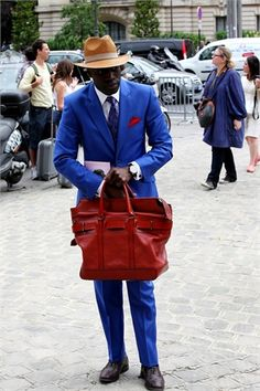 goodness! let's give it up for this sharp dressed man, snapped by vogue italia at paris couture f/w  fashion week