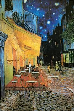 Van Gogh.  The Cafe Terrace on the Place du Forum, Arles, at Night
