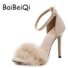 17.34$  Buy now - http://aliek6.shopchina.info/go.php?t=32780166408 - New Vogue Celebrity Brand Desiger Women Sandals Stiletto Feather Hairy Buckle Strap High Heels Bridesmaid Bridal Wedding Pumps 17.34$ #buyonlinewebsite