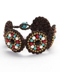 Look at this #zulilyfind! Turquoise & Red Stone Five-Circle Bracelet by PANNEE JEWELRY #zulilyfinds