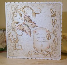 Soft and pretty shades - white card with ink and Tonic Studios dies