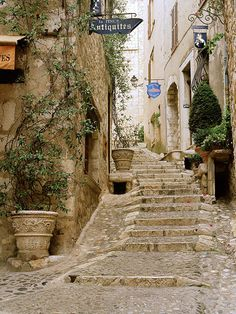 Paul Stairs- Saint Paul de Vence (Provence), France European photo of stone stairs in St. Paul-de-Vence(Provence), France by Dennis Barloga Places To Travel, Places To See, Places Around The World, Around The Worlds, Wonderful Places, Beautiful Places, Belle France, Provence France, French Countryside