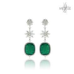 Emerald Diamond Gemstone Earring