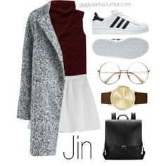 When You First Meet // Jin by suga-infires on Polyvore featuring polyvore, fashion, style, Wilfred, Tara Jarmon, Jessica Carlyle, Retrò, adidas and clothing