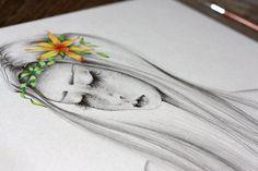 Pencil Drawing OOAK Watercolor Painting &  por ABitofWhimsyArt