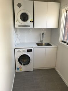 Laundry renovation #laundry #bathroom #cabinet #joinery Stacked Washer Dryer, Washer And Dryer, Bathroom Renovations Melbourne, Joinery, Pergola, Laundry, Home Appliances, Cabinet, Carving