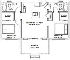 Guest House Plans, House Plan With Loft, Pool House Plans, 2 Bedroom House Plans, Small House Floor Plans, Cottage Floor Plans, House Plans One Story, Loft House, Cabin Plans