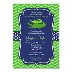 Shop Alligator Birthday Party Invitations created by SugarPlumPaperie. Birthday Party Invitations, Baby Shower Invitations, Custom Invitations, Alligator Birthday Parties, Alligator Baby Showers, Baby Boy Shower, Rsvp, Party Supplies, How To Make