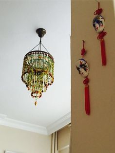 Lighting, bead chandelier