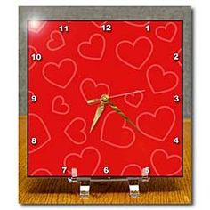 Amazon.com: Hearts in Red - 6x6 Desk Clock: Furniture & Decor