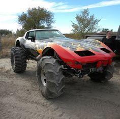 Corvette mud bogger, for the dumbass. Monster Car, Monster Trucks, Big Trucks, Chevy Trucks, Custom Trucks, Custom Cars, Lifted Cars, Sweet Cars, Us Cars