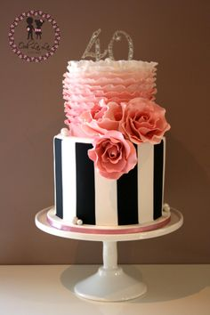 Black and white with pink cake