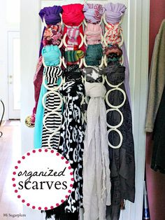 DIY Scarf Hanger you can cut some toilet rolls & make this
