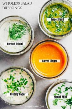 5 Best Salad Dressing Recipes with Asian Carrot Ginger Dressing, Sweet Basil Salad Dressing, Herbed Tahini-Dill Dressing, French Creamy Caper Salad Dressing, and Dairy-free Cool Yogurt Mint Salad Dressing. Vinegrette Salad Dressing, Whole30 Salad Dressing, Gluten Free Salad Dressing, Creamy Salad Dressing, Salad Dressing Recipes, Dill Dressing, Salad Recipes, Carrot Salad Dressing Recipe, Dairy Free Dressing Recipes