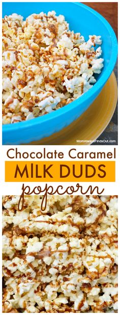 You'll love this! Easy Chocolate and Caramel Popcorn Recipe made with Milk Duds. Family Movie Night Snacks.