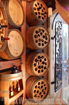 Faux wood beams and barrels cut in half were used to create a wine cellar under a staircase http://www.fauxwoodbeams.com/img_catalog/beams_general/design/timber/255.jpg