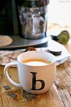 Salted Caramel Affogato (Espresso + Gelato). thecookierookie.  Background created by ericksonwoodworks.com.
