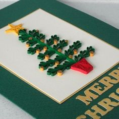 Christmas card, quilled tree. http://folksy.com