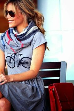 Bicycle print dress with colourful scarf and ray bans
