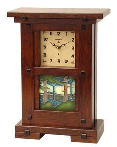 Craftsman Style Mantel Clocks   Mission Style mantle clock - the image looks very Tolkien-esque.