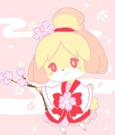 Isabelle in a Sakura Kimono. Animal Crossing Fan Art, Animal Crossing Characters, Acnl Art, City Folk, Special Characters, New Leaf, My Animal, Kawaii Anime, Pokemon