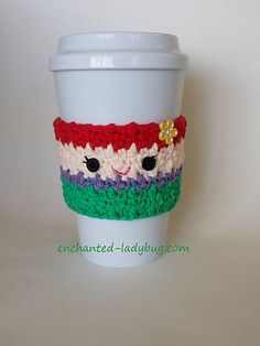 This cute Ariel coffee cup cozy would make a great gift for any fan of the… Crochet Coffee Cozy, Coffee Cup Cozy, Crochet Cozy, Crochet Gifts, Cute Crochet, Crochet Hooks, Coffee Cups, Hot Coffee, Crochet Snowman